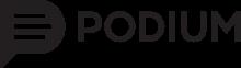 A logo for Podium